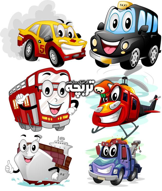 دانلود وکتورهای کارتونی وسایل حمل و نقل فانتزی