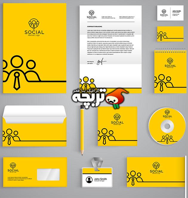 دانلود ست اداری زرد رنگ با طراحی انتزاعی