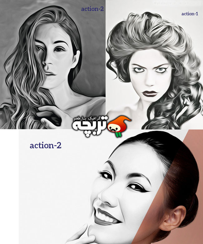 اکشن فتوشاپ افکت هنری سیاه و سفید