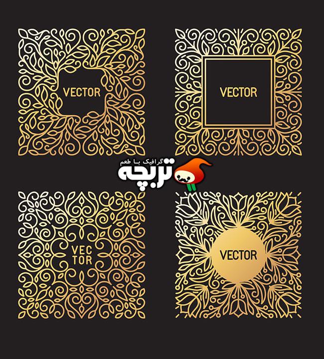وکتور ۴ قاب یا کادر متنی طلایی