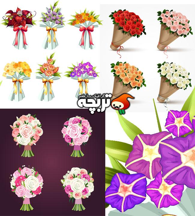 ۳ وکتور دسته گل عروس