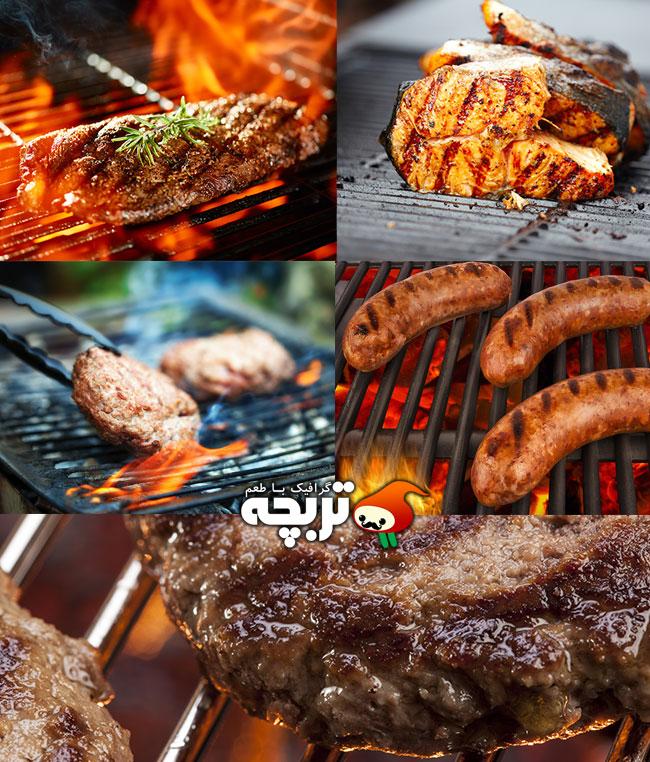 دانلود تصاویر انواع گوشت گریل شده