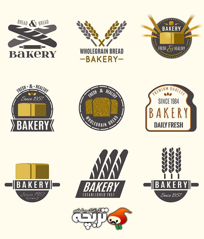 دانلود مجموعه وکتور لوگوی کلاسیک نانوایی