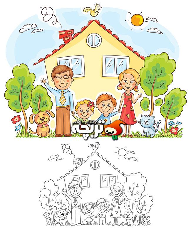 وکتور رنگ آمیزی خانه و خانواده