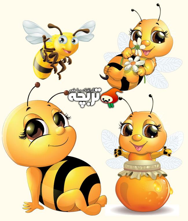 دانلود وکتور زنبور عسل بامزه