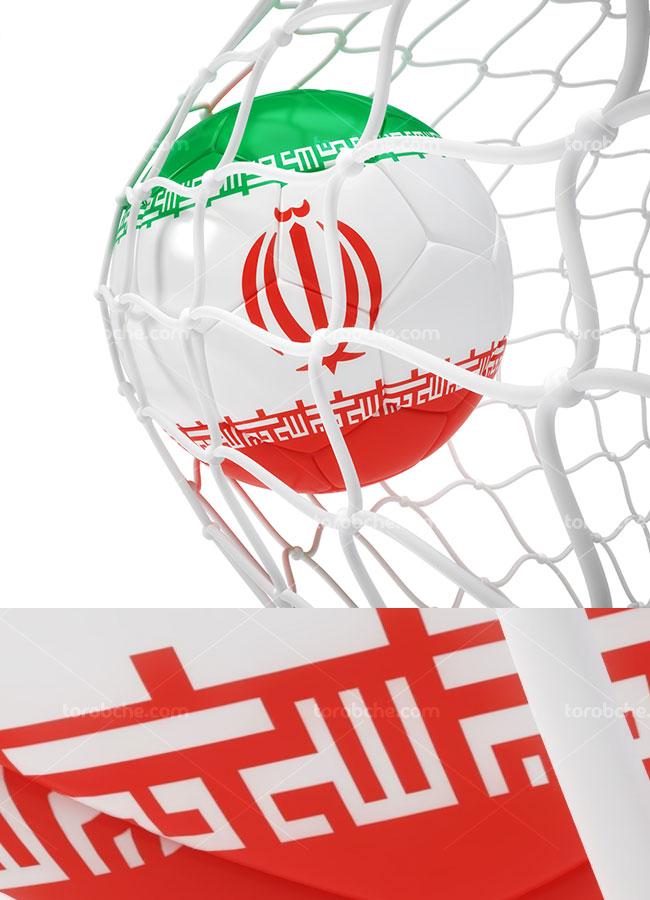تصویر با کیفیت توپ و تور با پرچم ایران