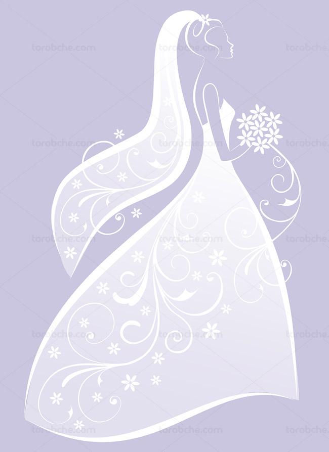 وکتور عروس با لباس سفید و دسته گل