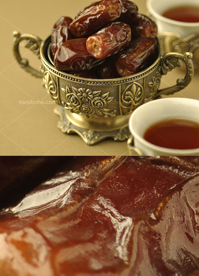 تصویر با کیفیت خرما و فنجان چای