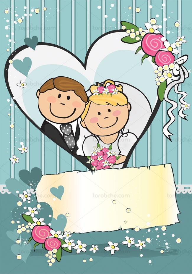 وکتور فانتزی عروس و داماد برای کارت دعوت عروسی