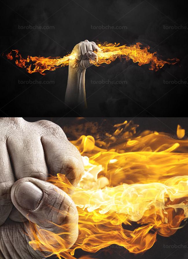 تصویر با کیفیت آتش در دست