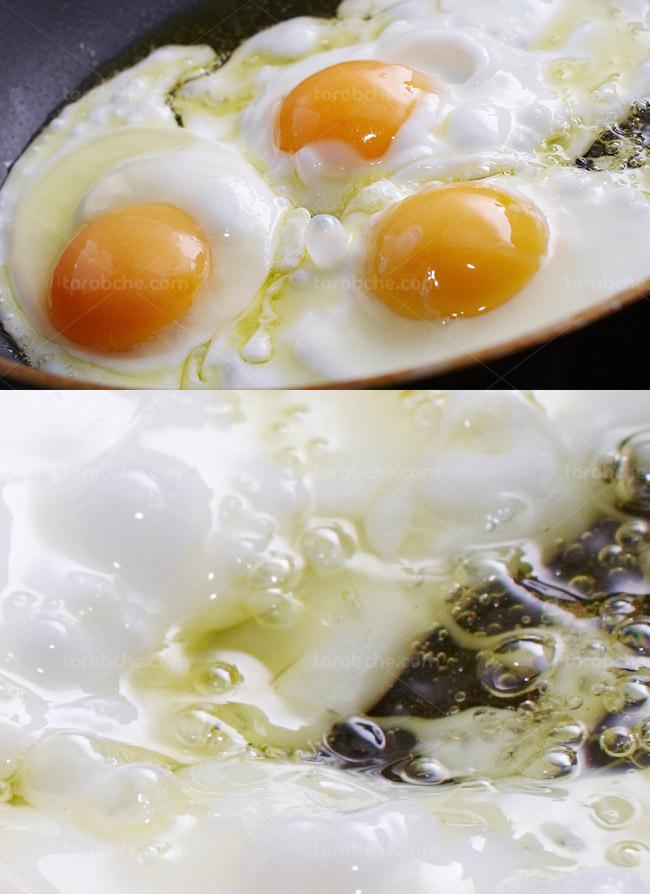 عکس با کیفیت نیمرو و یا تخم مرغ سرخ شده