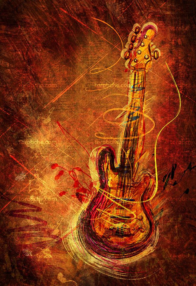 تصویر با کیفیت گیتار به صورت انتزاعی