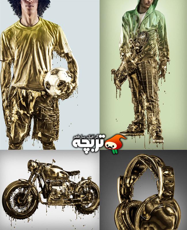 دانلود اکشن فتوشاپ چکیدن طلا از تصاویر Dripping Gold Photoshop Action