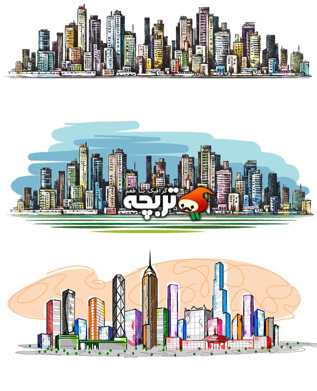 دانلود وکتور ساختمان های بلند شهر