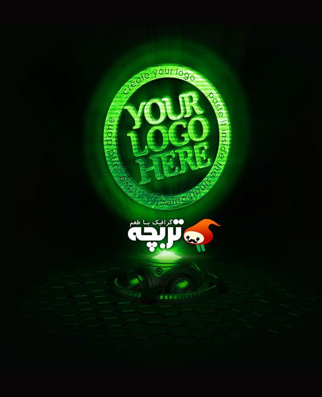 دانلود موکاپ لوگو پروژکتور سبز Holo Projector Logo Mockup