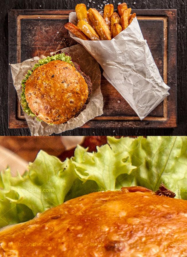 عکس با کیفیت ساندویچ همبرگر با سیب زمینی سرخ کرده