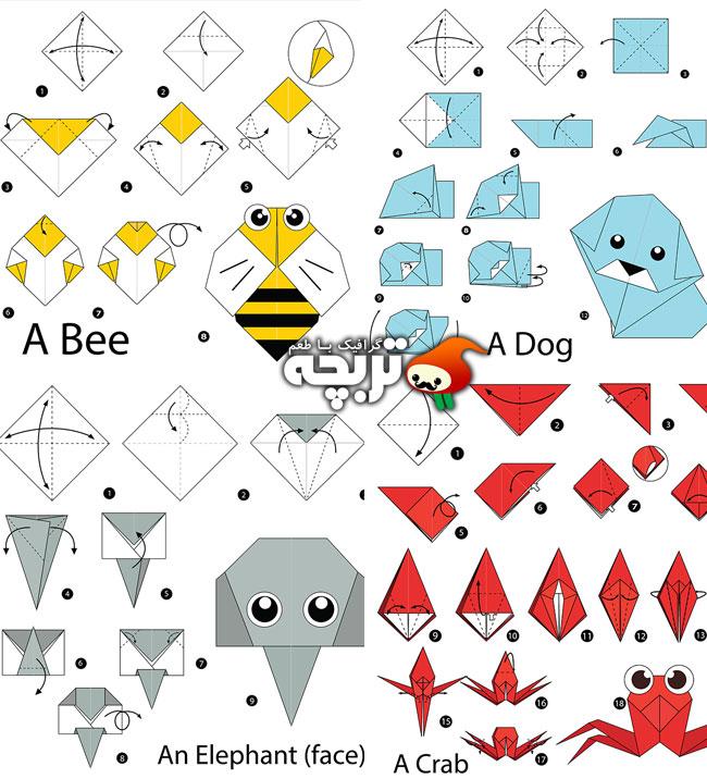 دانلود وکتورهای آموزش اوریگامی ساخت حیوانات