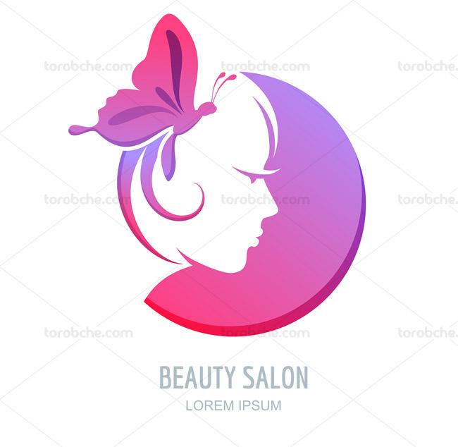 لوگوی سالن زیبایی و آرایش زنانه صورتی
