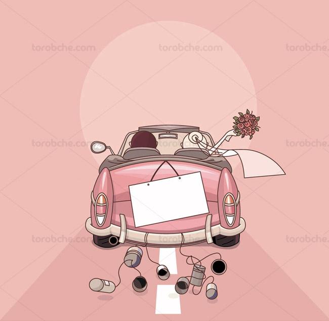 وکتور کارت دعوت عروسی صورتی