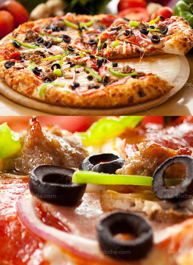 عکس با کیفیت پیتزا با زیتون سیاه