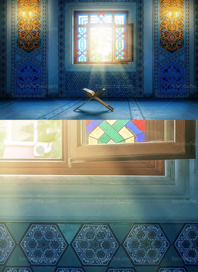 عکس با کیفیت قرآن و رحل در مسجد
