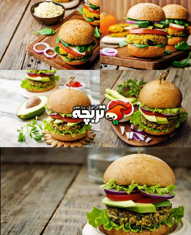 عکس با کیفیت همبرگر گیاهی تند
