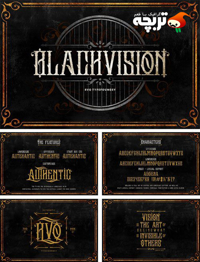 دانلود مجموعه فونت انگلیسی چشم انداز سیاه The Black Vision