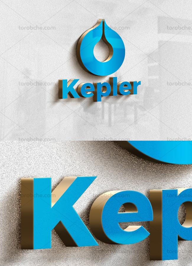 موکاپ لوگوی آبی سه بعدی با کناره های طلایی