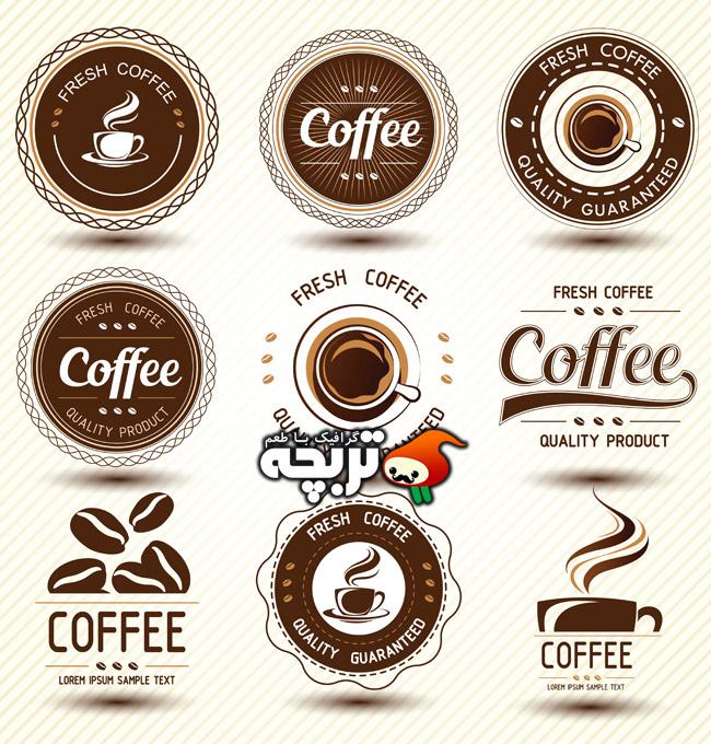 دانلود مجموعه وکتور لیبل قهوه coffee label vector