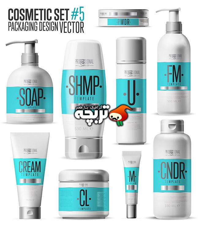 وکتور طرح بسته بندی لوازم آرایشی Cosmetic Packaging Vector