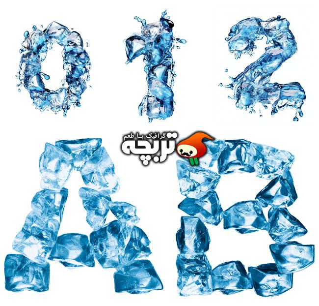 دانلود حروف و اعداد انگلیسی یخی شاتراستوک