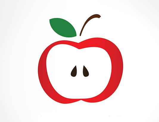 وکتور لوگوی نماد سیب در سه رنگ طلایی، سفید و قرمز