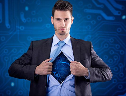 تصویر با کیفیت کسب و کار مفهومی مرد الکترونیکی