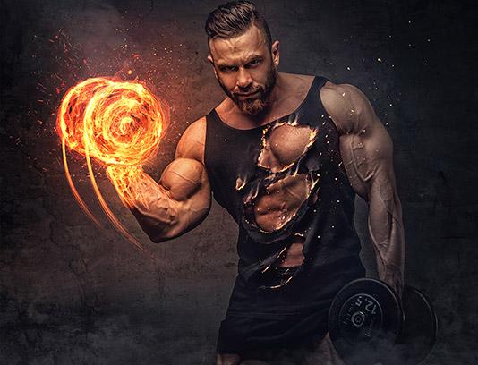 تصویر با کیفیت مرد ورزشکار در حال بدنسازی