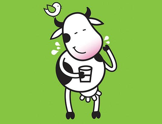 وکتور کاراکتر گاو و لیوان شیر