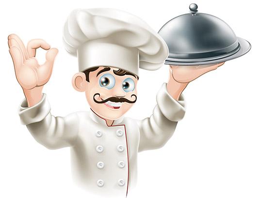 وکتور کاراکتر مرد آشپز با کلاه آشپزی