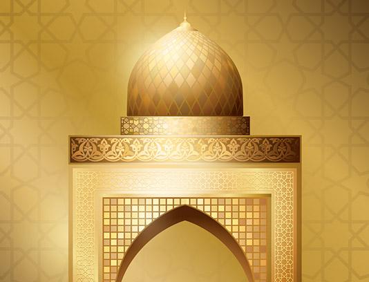 وکتور مسجد طلایی با نقوش اسلامی