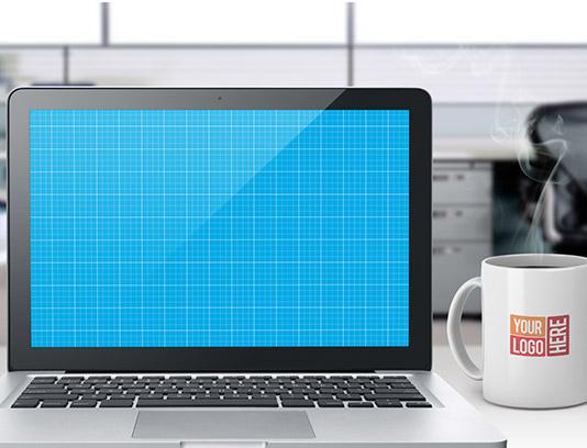 طرح لایه باز موکاپ صفحه نمایش لپ تاپ