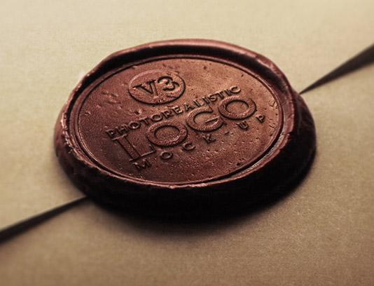 موکاپ لوگوی مهر و موم پاکت نامه