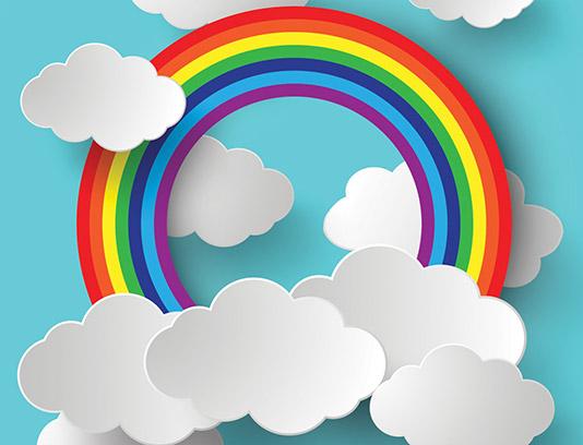 وکتور رنگین کمان و ابرهای سفید