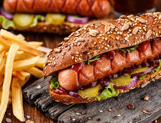 عکس با کیفیت ساندویچ سوسیس