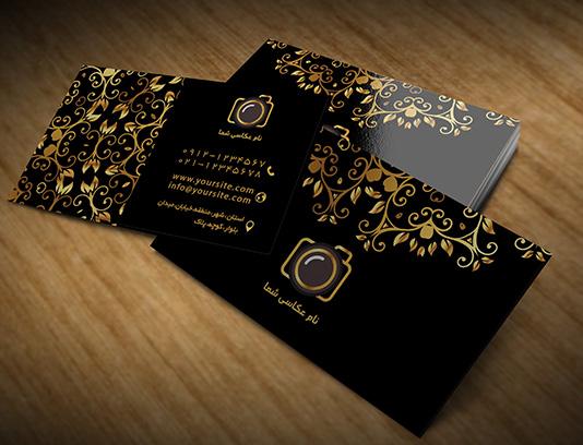 طرح لایه باز کارت ویزیت عکاسی طلایی