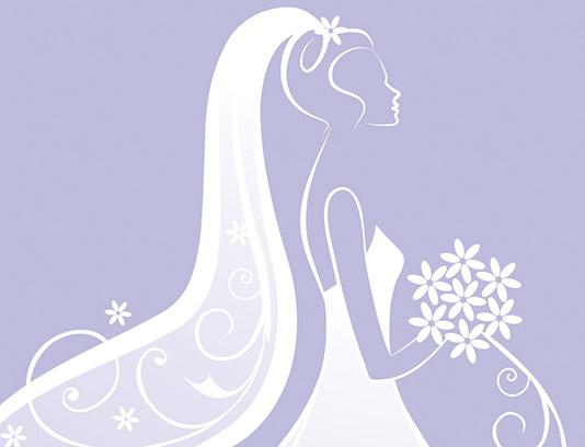 وکتور عروس با لباس سفید