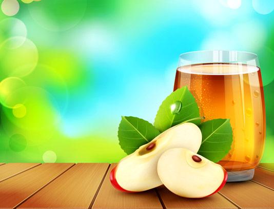 وکتور سیب و لیوان آب سیب