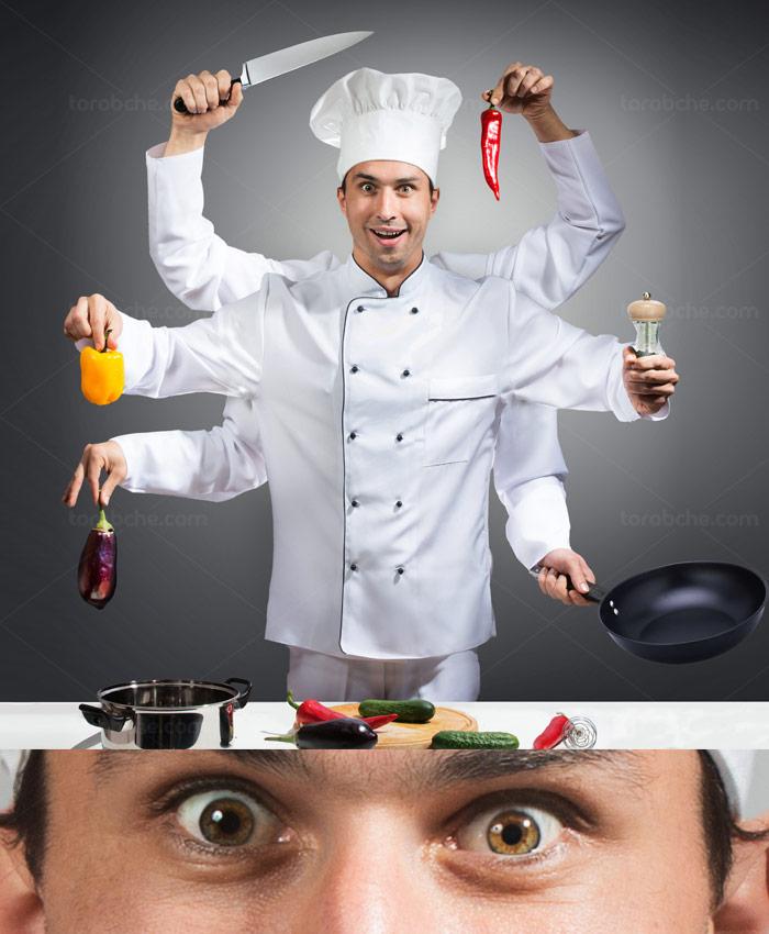 عکس با کیفیت مرد آشپز حرفه ای با شش دست