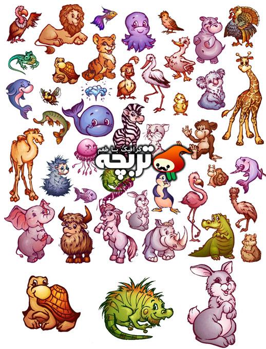 وکتور مجموعه حیوانات کارتونی