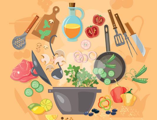 وکتور فلت آشپزی و مواد غذایی