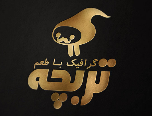 موکاپ لوگوی طلایی با زمینه مشکی