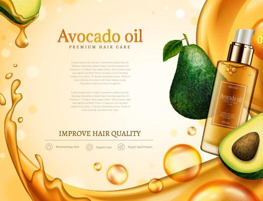 وکتور طرح لایه باز پوستر روغن مراقبت از موی آواکادو