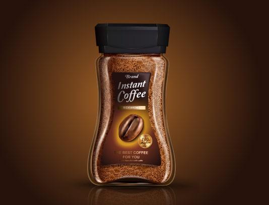 وکتور طرح لایه باز تبلیغاتی بسته بندی قهوه